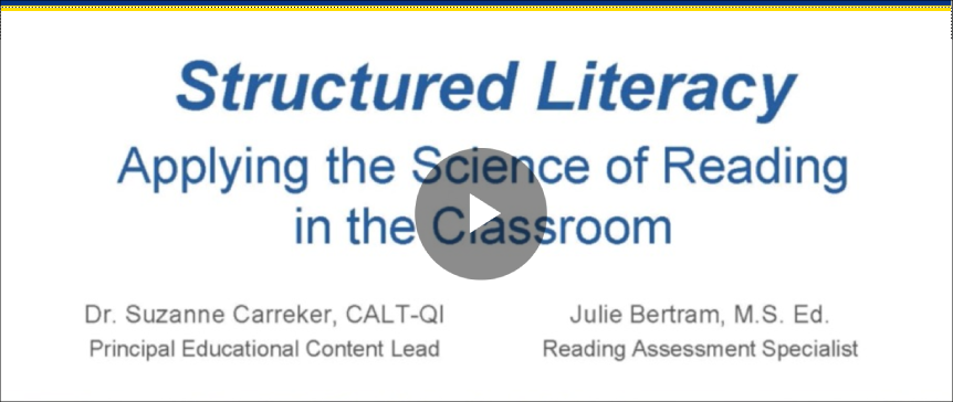 Structured Literacy: Applying the Science of Reading in the Classroom
