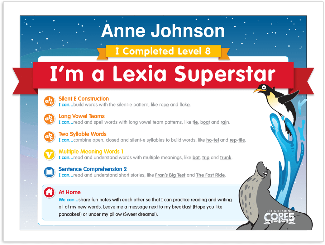 Independent student driven learning lexia reading core5 each time a student completes a level within lexia reading core5 the teacher is notified and can then access a customized certificate of achievement to 1betcityfo Choice Image